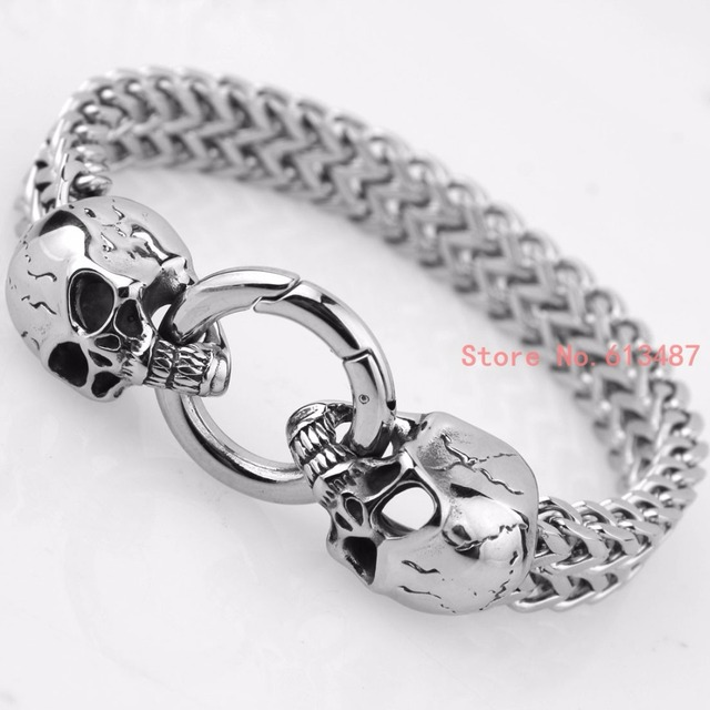 Punk Style Silver Skull Stainless Steel Bracelets Charms Men 12MM Wide Bracelet Retro Link Chain Bangles Fashion Jewelry