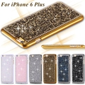 Moda de luxo cromo cristal diamond case para iphone 6 6 s 7 plus 5 se 4S samsung galaxy note 7 5 4 3 s7 s6 edge plus S5/4/3