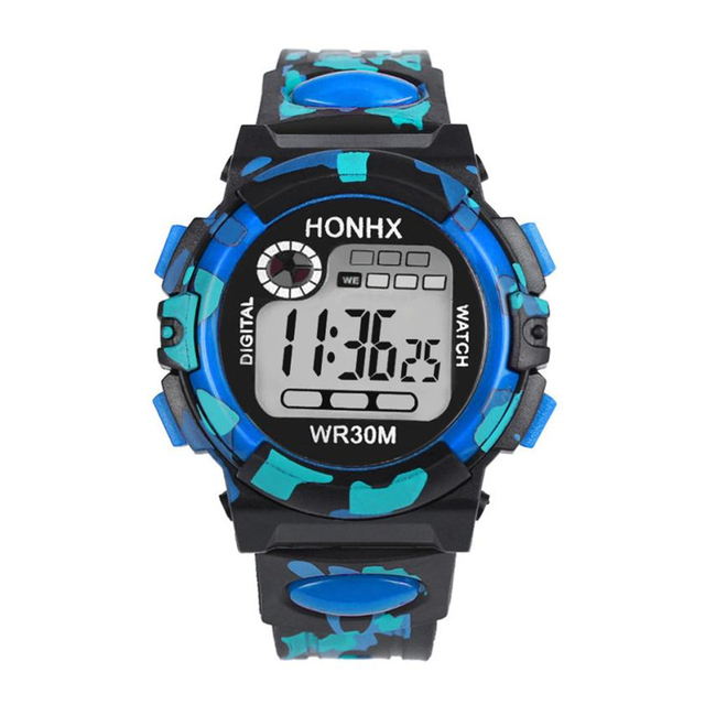 Fashion Camouflage Kids Child Boy Girl Multifunction Waterproof Sports Electroni