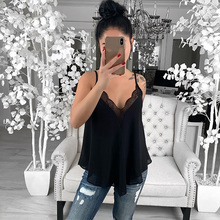 2019 Womens Lace Stitching Tops Sexy Fashion Camisole Vest Sleeveless V Neck Camisole Comfortable Casual Summer Clothes v neck sleeveless lace stitching design vest