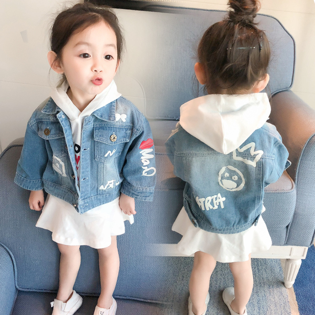 cb21db380 MLXSLKY Children's clothing 2019 new baby girls denim jacket spring  children's jacket 0-1-2-3-4 years old Children's denim coat