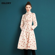 High Quality New Trench Coats 2017 Autumn Winter Ladies Strawberry Prints Covered Button Skirt Casual Trench Outerwear Overcoats
