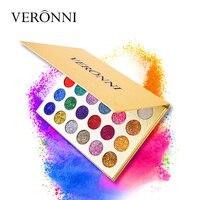 VERONNI Marca 24 Del Brillo Del Color de Sombra de Ojos Shimmer Maquillaje Paleta de Oro Arco Iris Del Diamante Presionado Sombra De Ojos Cosméticos Ojos Desnudos Set