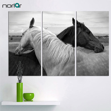 3 Pieces HD Printed Wall Art Black and White Horses Animals Poster Canvas Painting Home Decor No Frame