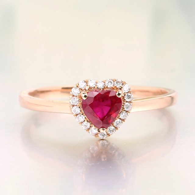 Robira Charm Female Natural Ruby Red Heart Ring Elegant 18K Rose
