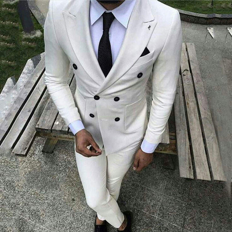 White Men Suits Pants Blue Groom Wedding Tuxedos Prom Party Red Man Blazers Ivory Costume Homme Slim Fit Terno Masculino 2 Piece