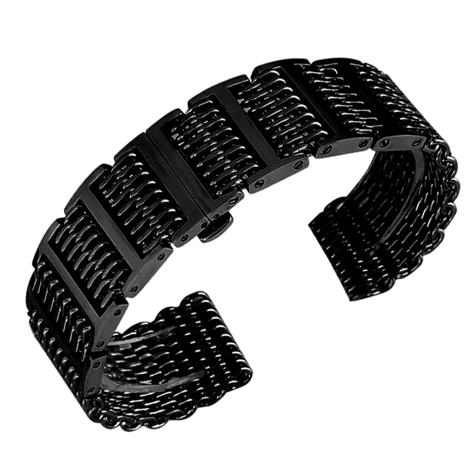 купить 20/22/24 mm Push Button Hidden Clasp Men Stainless Steel Watch Band Watches Strap Silver Black Shark Mesh Adjustable Replacement по цене 1835.25 рублей