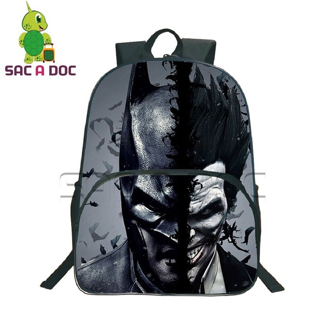 7e9b7a4b5337 Cool The Dark Knight Batman Joker Split Backpack for Teenagers Boys Kids  School Bags Men Laptop