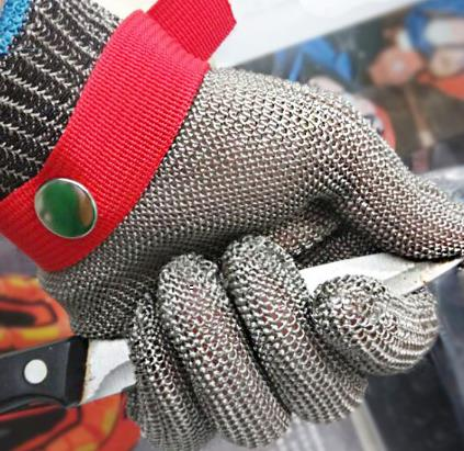 Cut-resistant glove level 5 wire anti- edge anti- stab knife cut-resistant gloves Stainless steel wire top quality 304l stainless steel mesh knife cut resistant chain mail protective glove for kitchen butcher working safety