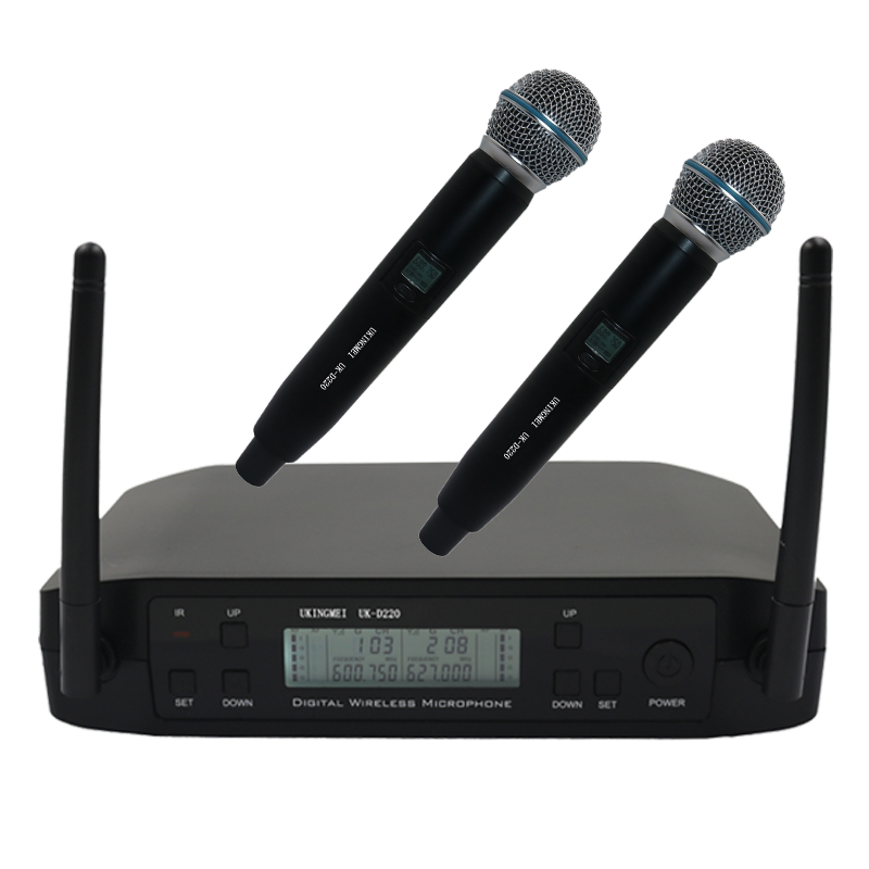Dual Handheld Wireless Microphone System UHF Frequencies Adjustable Professional Cordless Mic 2 Channels for Karaoke Live Show boya by whm8 professional 48 uhf microphone dual channels wireless handheld mic system lcd display for karaoke party liveshow
