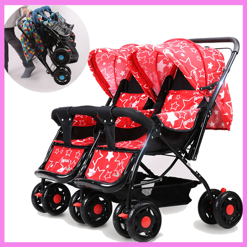 Baby Twins Stroller Double Buggies Travel Folding Portable Baby Umbrella Stroller Can Sit Lie Flat Sleeping