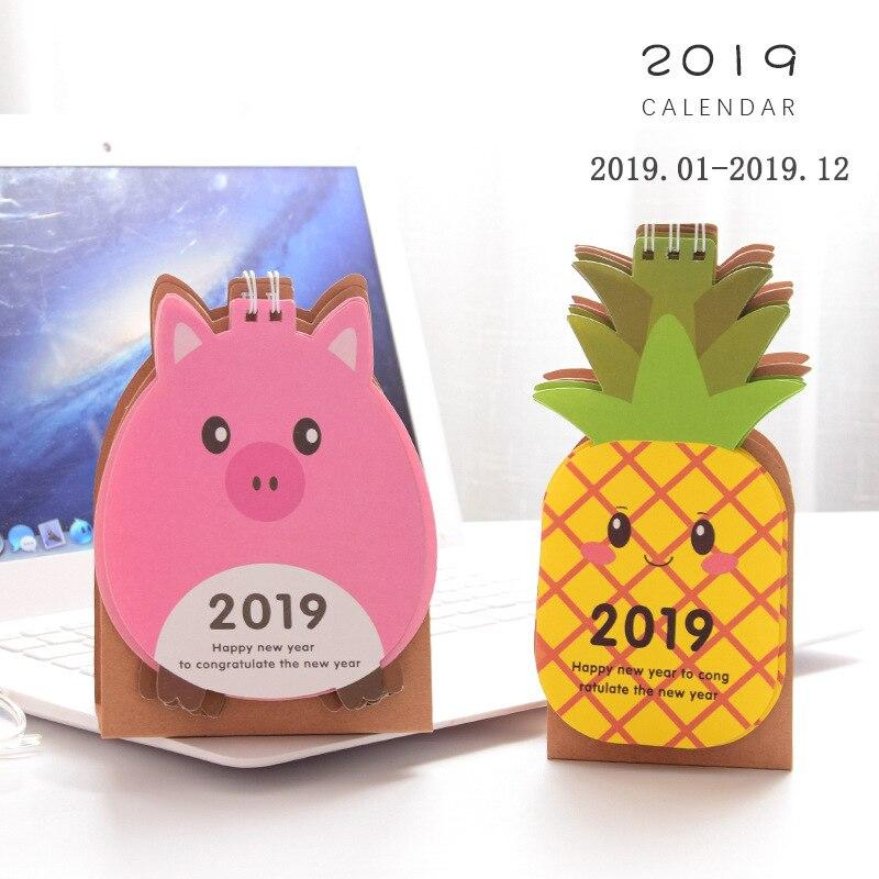 Calendar Coloffice 2019 New Year Korean Cartoon Fruit Animal Lovely Mini Desk Calendar Students Stationery Office School Supplies 1piece Luxuriant In Design
