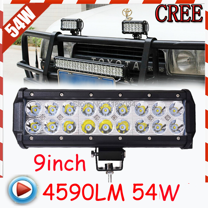 9inch 54W 3600LM 10~30V,6500K,LED working bar,Boat,Bridge,Truck,SUV Offroad car,troops,1pcs,black+Free ship!,72W 36W! loft wooden chandelier nordic simple living room restaurant 6 lamp american industrial wind clothing store cafe bar