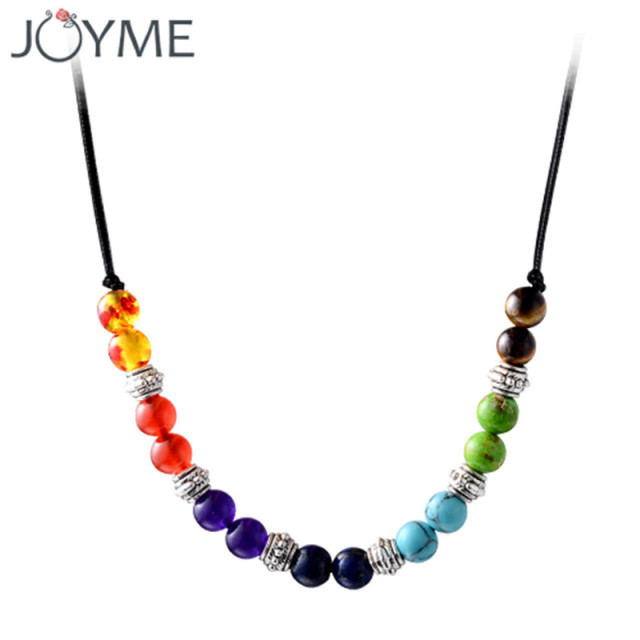 pendant necklace onuve christmas jewelry chakra products rainbow fine stone amethyst multicolor natural beads necklaces tassel yogo