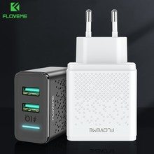 FLOVEME 5V LED Dual USB Charger Charging For iPhone iPad Samsung Xiaomi Fast Wall Travel Charger EU Plug Mobile Phone Chargers(China)