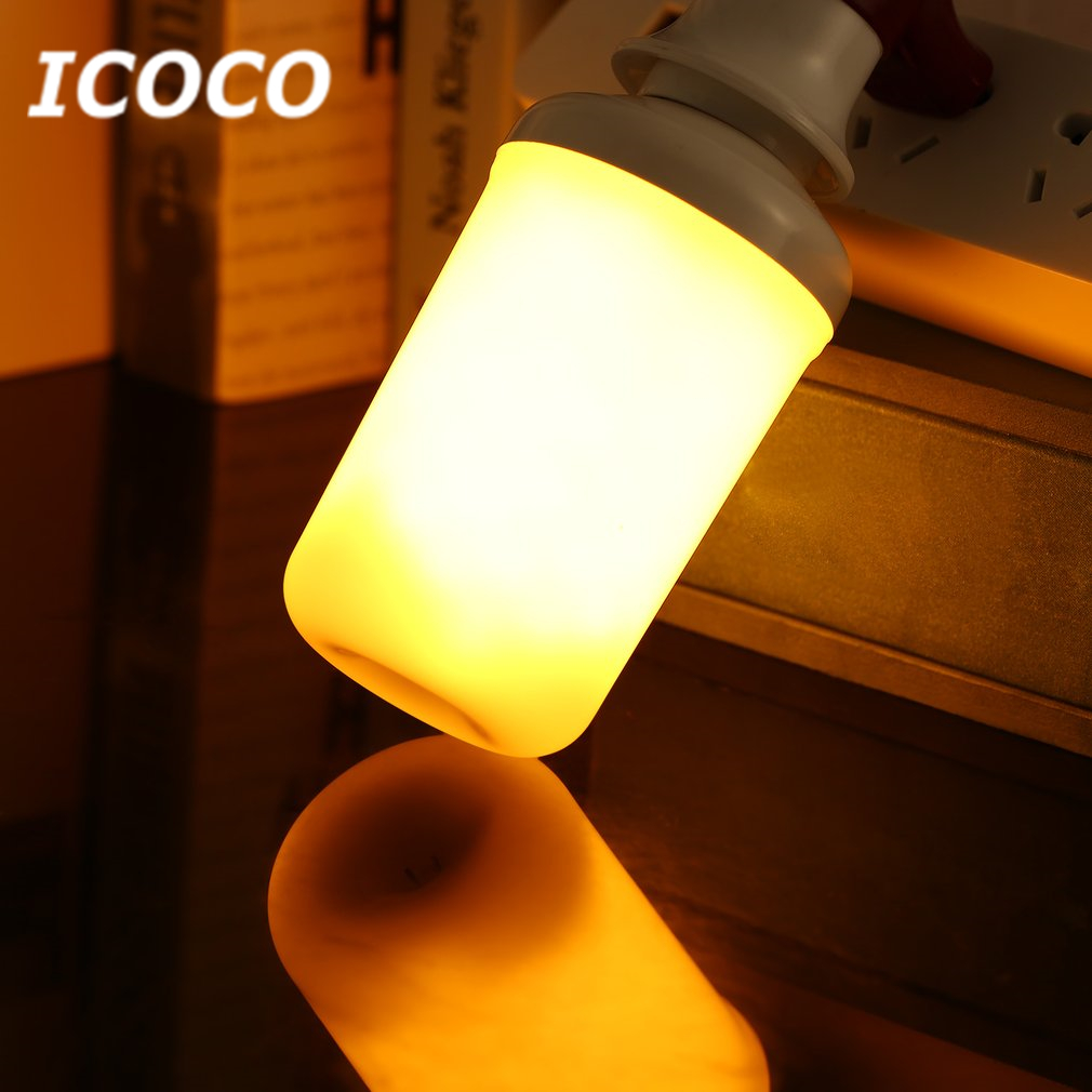 ICOCO E14/E27 99 LEDs Flame Flickering Bulb SMD2835 3 Gear Mode Simulation Flame Dynamic Lighting Drop Shipping Sale