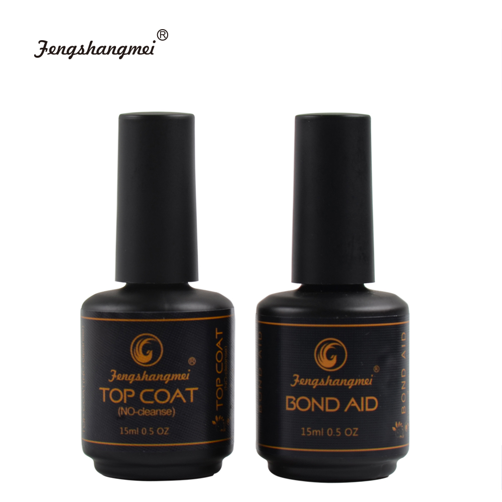 fengshangmei 15ml Base And Top Set No Wipe Diamond Top for Gel Varnish Nail Led UV Gel Lacquer Tops 1