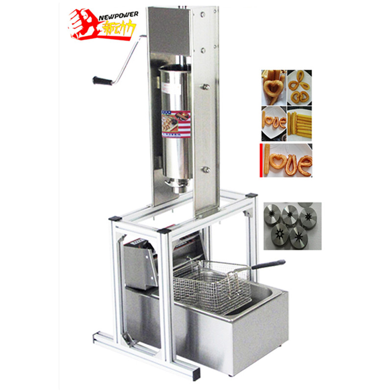 Commercial 5L Churro Maker Machine Including 6L Fryer & 3 Churro Outlet Nozzle Stainless Steel Churros Making Machine 5l stainless steel spanish churro maker fried dough sticks machine with 6l electric fryer commercial churros machine