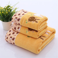 2pcs Quick Dry Towel 100 Cotton Bath Beach Face Towel Sets For Adults Bathroom Embroidered Rabbit