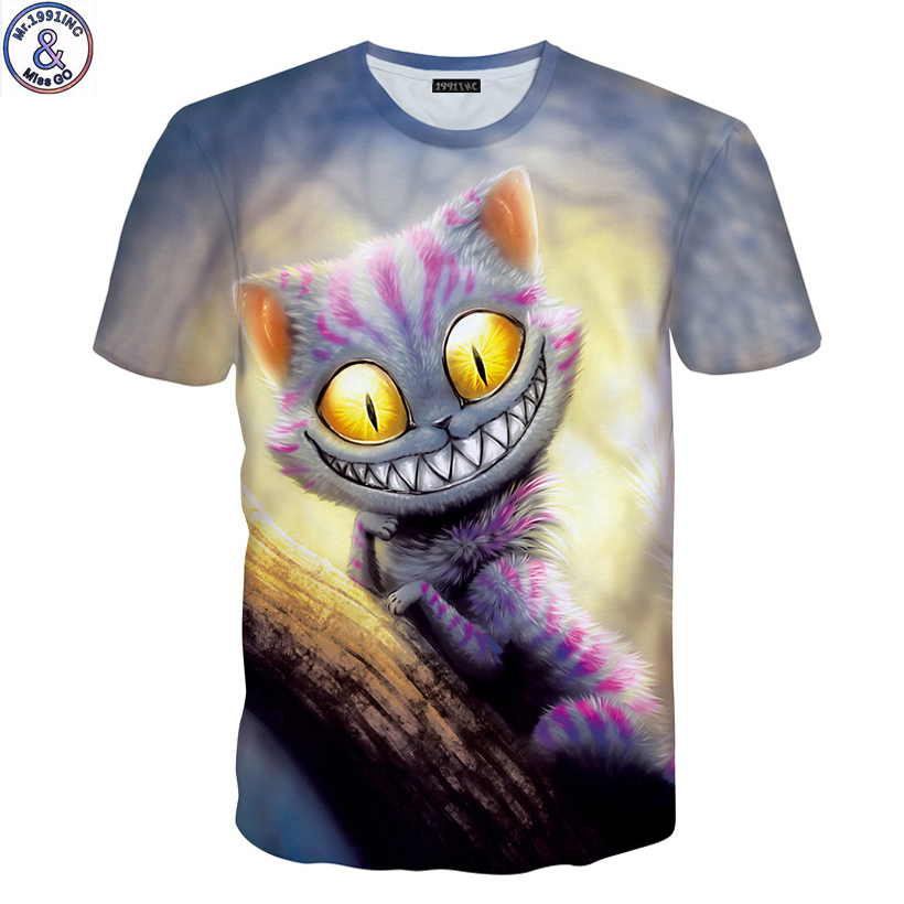 Mr.1991 brand new Various cat and kinds cat 3D printed t-shirt for boys or girls 6-20years teens big kids t shirt children A44