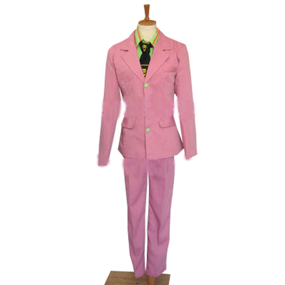 2016 JoJo's Bizarre Adventure Part 4 Kira Yoshikage Pink Cosplay Costume