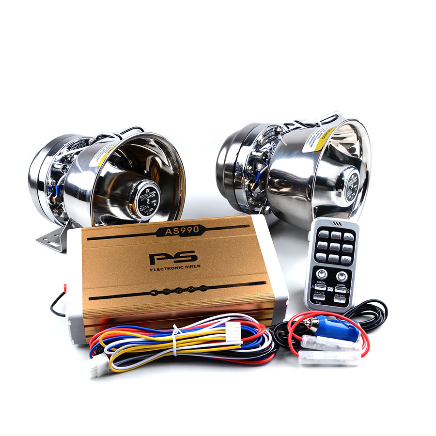 400W Police Siren 12V Gold AS990 Electrical Car Siren 2pcs Silver Stainless Steel Speaker High Power