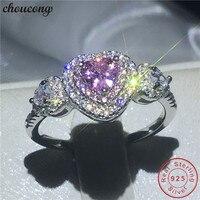 Choucong сердце Форма реальный Soild 925 Серебряное кольцо розовый AAAAA Циркон Обручение обручальное Кольца для Для женщин мужчин Bijoux