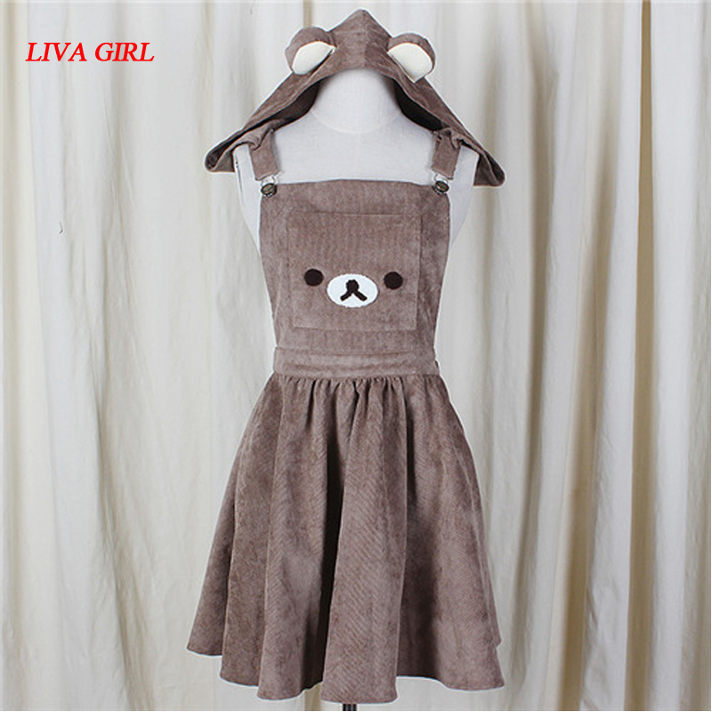 2017 წლის იაპონური A-Line Dress Cute Bear Embroidery Gown Harajuku Lolita Dress