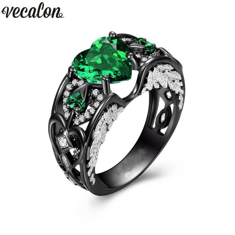 Vecalon Moda da forma Do Coração 5 cores Pedra anel de Ouro Preto cheio de 925 anéis De casamento de Prata para as mulheres homens 5A zircão jóias