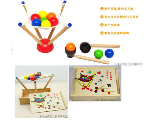 Candice guo! Funny educational wooden toy challenge Grab ball game parent-child gift 1pc