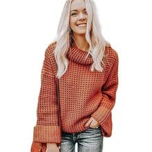 Sweater Women High Neck Long Sleeve Loose Top New Blusas De Inverno Feminina  Pullover Clothes Chompas Para Mujer