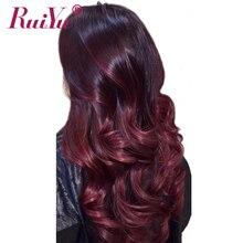 RUIYU Hair Ombre Brazilian Hair Bundles Body Wave 1b Burgundy Two Tone Ombre Human Hair Extensions Weave Bundles 99J Red NonRemy