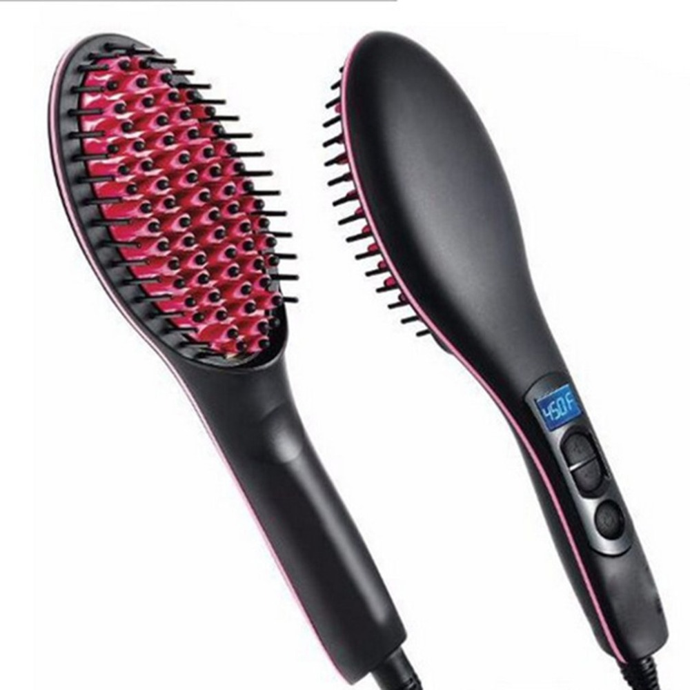 Professional Ceramic Electric Hair Brush Straightening Irons LCD Display Fast Hair Straightener Comb Hairstlye EU AU US Plug купить недорого в Москве