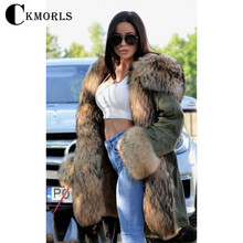 CKMORLS Real Fur Parkas Winter Jacket For Women Clothes Long Armygreen With Natural Raccoon Collar Thick Warm Outwear Coats