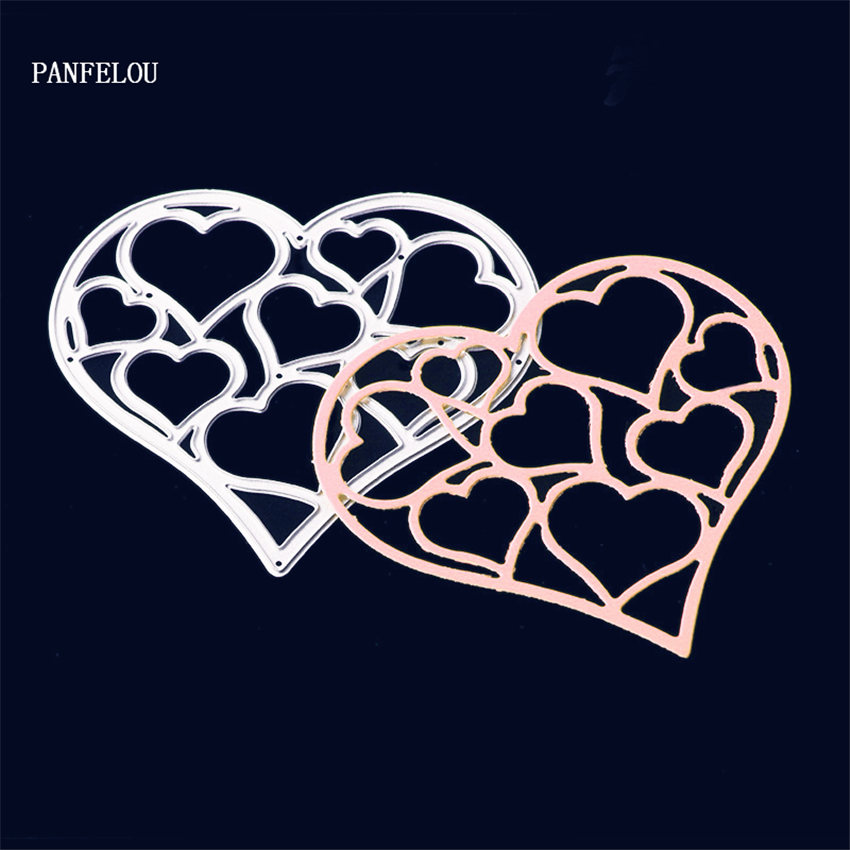 PANFELOU Metal craft Romantic heart paper die cutting dies for Scrapbooking/DIY Christmas wedding cards Hand account