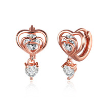 Christmas Gifts 2016 Fashion Love Heart Earrings Jewelry Rose Gold Plating Zircon Crystal Stones Charms Hoop Earrings Female