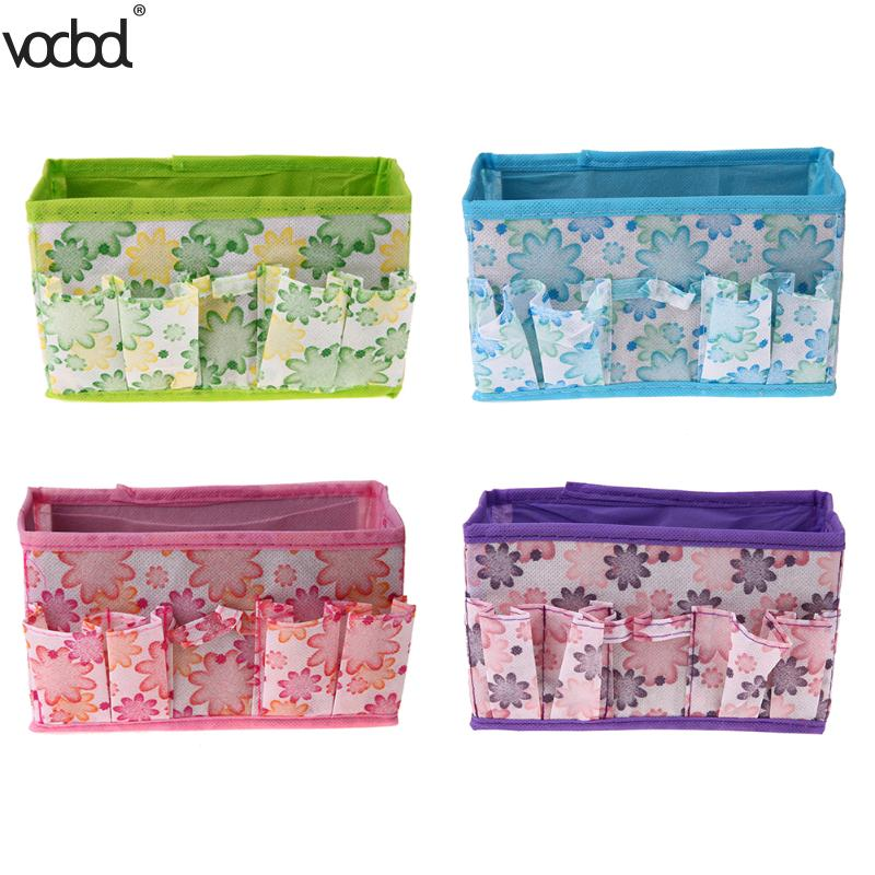 Large Capacity Foldable Desk Storage Box Multifunction Makeup Cosmetics Pens Stationery Container Non-woven Desktop Organizer