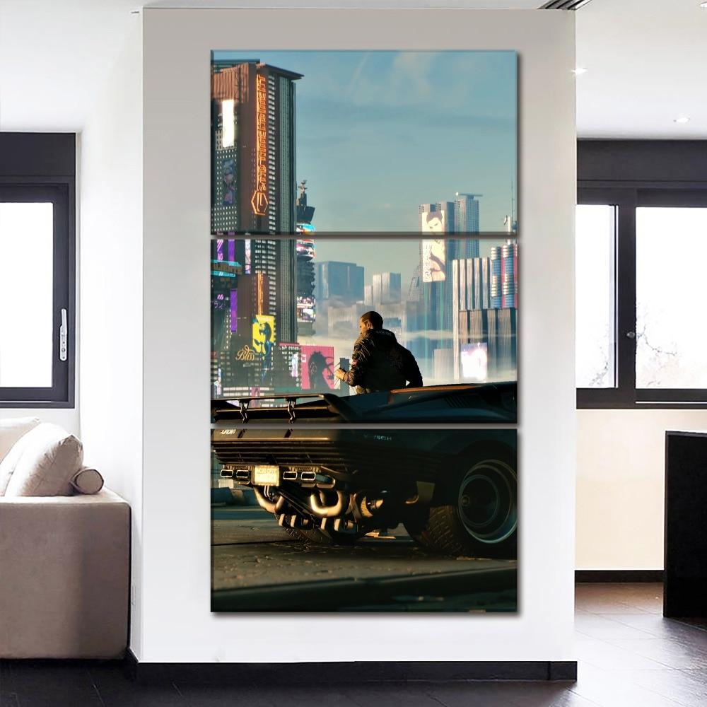 Artwork 3 Panel Canvas Print Poster Modern Home Decor Wall Art Game Cyberpunk 2077 City  ...
