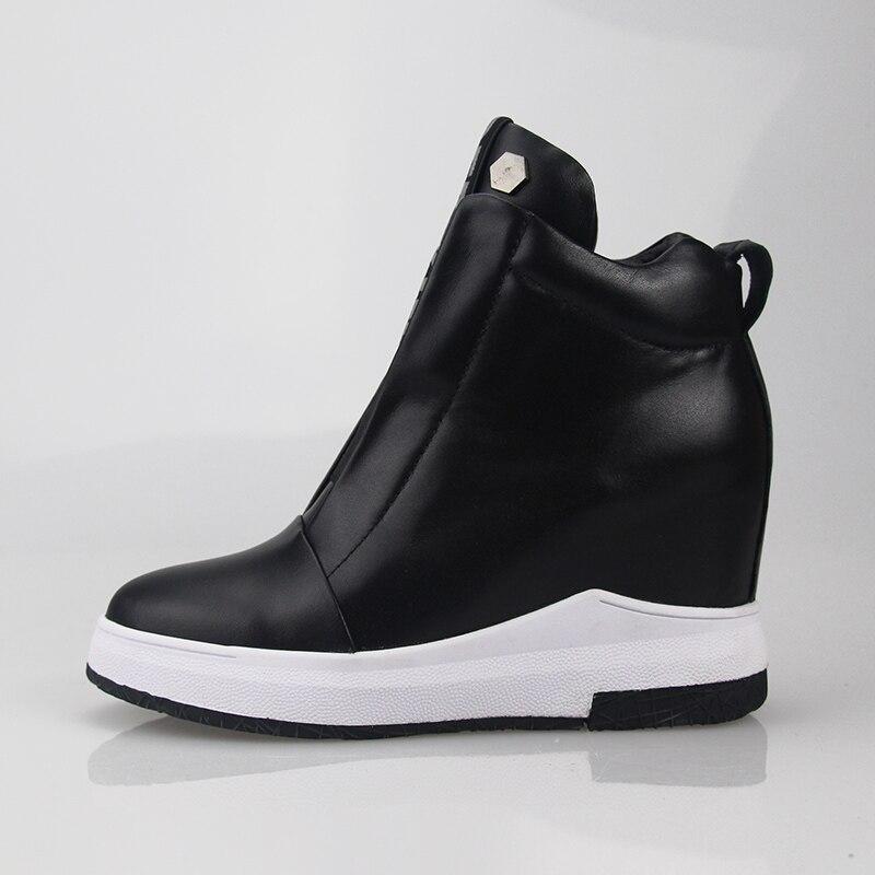 Noir Short En blanc Sneakers Noir black Plat Bottines Des Plate Pour Cuir white Plush forme Femmes Chaussures Croissante 2018 Véritable Hauteur Blanc Lettre Plush qwI1HZIxn