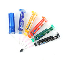 5 pces 5 cores uv curável solda + agulhas + lâmpada uv máscara 10cc para pcb placa de circuito proteger pasta de solda fluxo óleo +