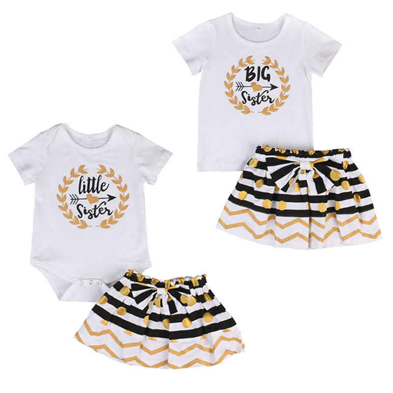Одежда для малышей Детская одежда для девочек комплект маленькая старшая сестра комбинезон платье-футболка мини-юбка комплект