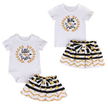 Toddler Baby Kid Girls Clothes Set Little Big Sister Little Big Sister Romper Dress TShirt Mini Skirt Outfit Set