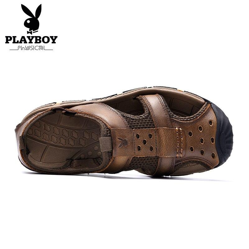 Homens Verão Sandálias Macio Praia Sapatos Couro Confortáveis Dos De Masculinos Casual Playboy Costura Calçados Retro Handmade Marrom Genuíno cáqui q8FwXW0