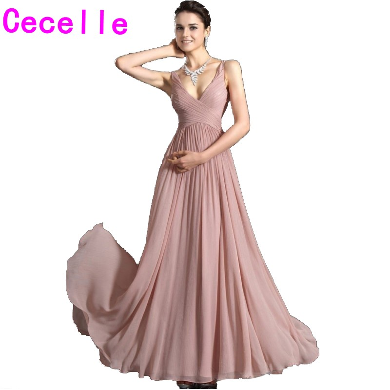 Dusty Rose Long Bridesmaid Dresses With Straps Pleats Chiffon A Line