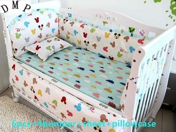 6pcs baby crib bedding sets kit berço cama bebe boys cartoon animal crib sets cotton bedding,(4bumpers+sheet+pillow cover)