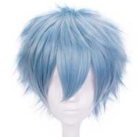 Mój bohater akademia Tomura Shigaraki światło niebieskie krótkie proste peruka syntetyczna cosplay dla chłopców kostium na Halloween