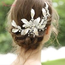 Handmade Gorgeous Leaf Wedding Hair Comb Hairpin Bride Hair Accessories Jewelry Shiny Crystal Wedding Headpiece RE3376