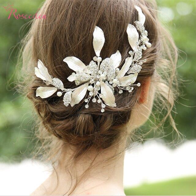 手作りゴージャスな葉結婚式の毛の櫛花嫁のヘアアクセサリージュエリー光沢のあるクリスタルウェディングかぶとRE3376