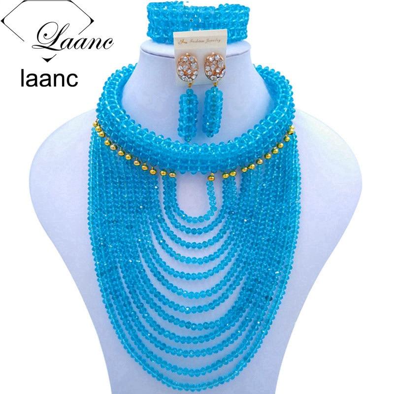 Laanc Brand Latest Nigerian African Wedding Beads Bridal Jewelry Sets Crystal Lake Blue Women Costume Necklaces AL308Laanc Brand Latest Nigerian African Wedding Beads Bridal Jewelry Sets Crystal Lake Blue Women Costume Necklaces AL308