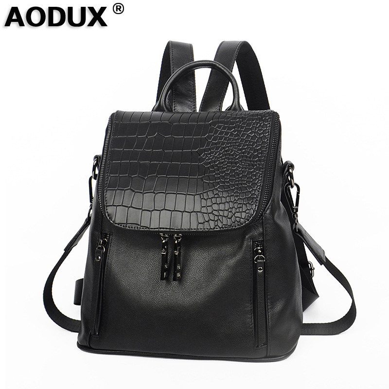 AODUX 2018 Famous Brand 100% Genuine Leather Backpacks Natural Real First Layer Cow Leather Top Layer Cowhide Women Shoulder Bag miwind backpack natural soft real leather backpacks genuine first layer cow leather top layer cowhide women backpack wub080